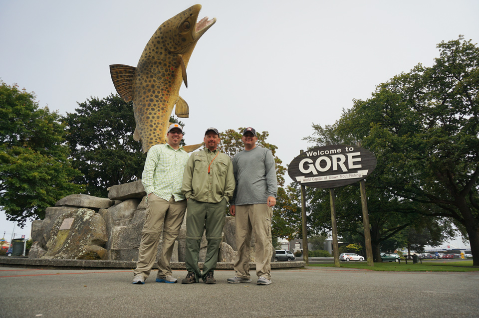 "Stephen, Bryan, and Jake in Gore, NZ ""Brown Trout Capital of the World"""
